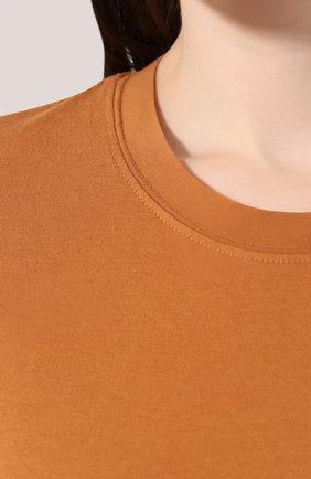 Женская хлопковая футболка JAMES PERSE коричневого цвета, арт. WLJ3114 | Фото 5