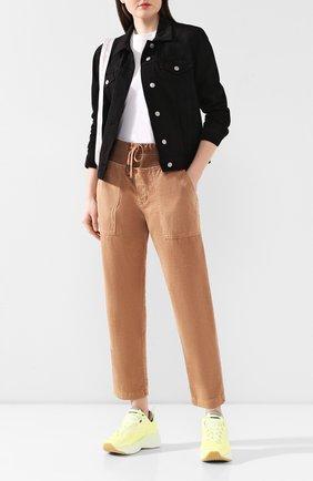 Женские хлопковые брюки JAMES PERSE коричневого цвета, арт. WACS1862 | Фото 2