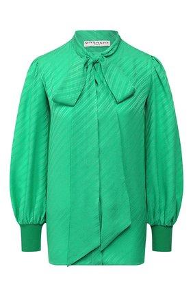 Женская шелковая блузка GIVENCHY зеленого цвета, арт. BW60GR12JB | Фото 1