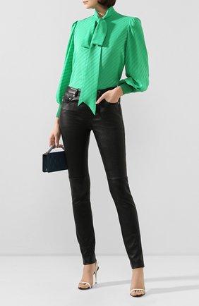 Женская шелковая блузка GIVENCHY зеленого цвета, арт. BW60GR12JB | Фото 2