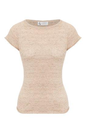 Женская футболка из смеси льна и хлопка IL BORGO CASHMERE бежевого цвета, арт. 55-1044G0 | Фото 1 (Рукава: Короткие; Длина (для топов): Стандартные; Материал внешний: Лен, Хлопок; Принт: Без принта; Женское Кросс-КТ: Футболка-одежда)