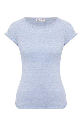 Женская футболка из смеси льна и хлопка IL BORGO CASHMERE голубого цвета, арт. 55-1044G0 | Фото 1 (Рукава: Короткие; Длина (для топов): Стандартные; Материал внешний: Хлопок, Лен; Принт: Без принта; Женское Кросс-КТ: Футболка-одежда)