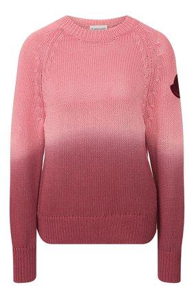 Женская хлопковый свитер MONCLER розового цвета, арт. F1-093-9C711-60-V9088 | Фото 1
