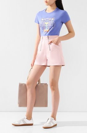 Женская хлопковая футболка KENZO сиреневого цвета, арт. FA52TS7214YB | Фото 2