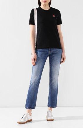 Женская хлопковая футболка AMI черного цвета, арт. E20FJ108.720 | Фото 2