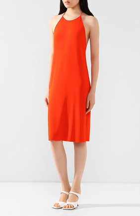 Женское платье из вискозы BOTTEGA VENETA оранжевого цвета, арт. 616993/VKI60 | Фото 3