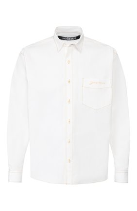 Мужская хлопковая рубашка JACQUEMUS белого цвета, арт. 205SH01/22100 | Фото 1