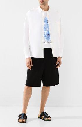 Мужская хлопковая рубашка JACQUEMUS белого цвета, арт. 205SH01/22100 | Фото 2