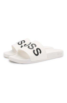Женские шлепанцы logo BOSS белого цвета, арт. 50425631 | Фото 1