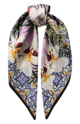 Женский шелковый платок DOLCE & GABBANA сиреневого цвета, арт. FN090R/GDU70 | Фото 1