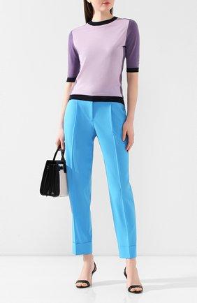 Женские хлопковые брюки BOSS бирюзового цвета, арт. 50427795 | Фото 2