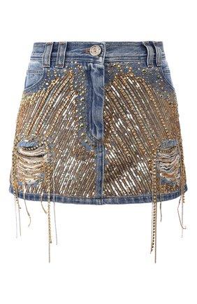 Женская джинсовая юбка BALMAIN синего цвета, арт. TF14016/D012 | Фото 1