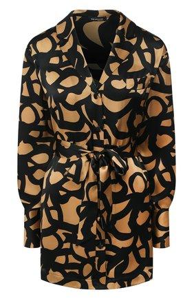 Женская шелковая блузка с поясом KITON леопардового цвета, арт. D49348K09S74 | Фото 1