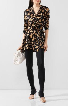 Женская шелковая блузка с поясом KITON леопардового цвета, арт. D49348K09S74 | Фото 2