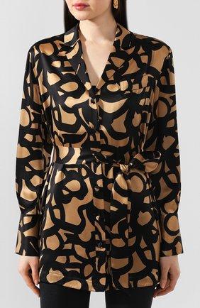 Женская шелковая блузка с поясом KITON леопардового цвета, арт. D49348K09S74 | Фото 3