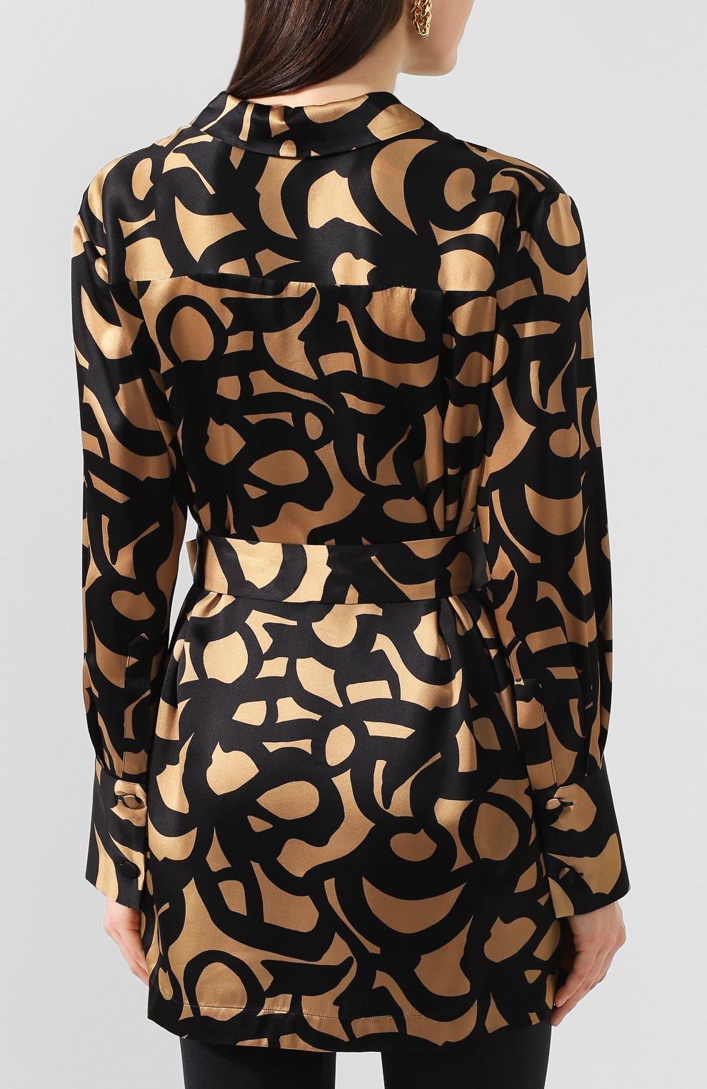 Женская шелковая блузка с поясом KITON леопардового цвета, арт. D49348K09S74 | Фото 4