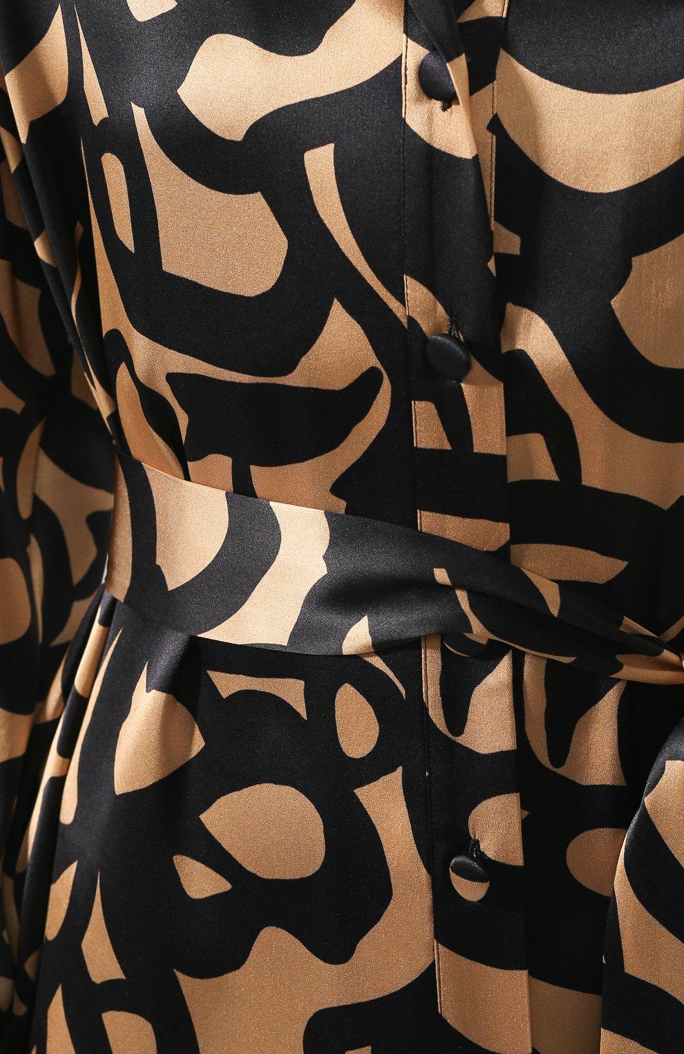 Женская шелковая блузка с поясом KITON леопардового цвета, арт. D49348K09S74 | Фото 5