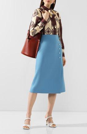 Женская шерстяная юбка MARC JACOBS RUNWAY голубого цвета, арт. W1000011   Фото 2