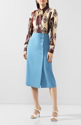 Женская шелковая блузка MARC JACOBS RUNWAY коричневого цвета, арт. W6000040   Фото 2