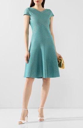 Женское платье из смеси вискозы и шерсти ST. JOHN бирюзового цвета, арт. K12Z0F1 | Фото 2