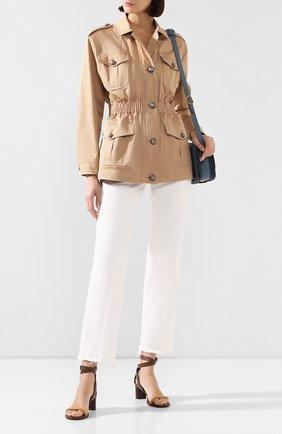 Женская хлопковая куртка  DOLCE & GABBANA бежевого цвета, арт. F28UBT/FUFJ6 | Фото 2