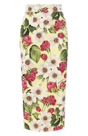 Женская шелковая юбка DOLCE & GABBANA желтого цвета, арт. F4BSYT/FSAZV | Фото 1