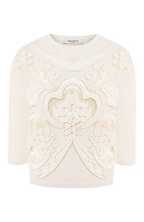 Женская пуловер из смеси шерсти и кашемира VALENTINO кремвого цвета, арт. TB0KCB285G3 | Фото 1