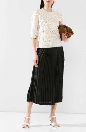 Женская пуловер из смеси шерсти и кашемира VALENTINO кремвого цвета, арт. TB0KCB285G3 | Фото 2