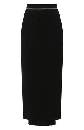 Женская юбка из смеси вискозы и шерсти HELMUT LANG черного цвета, арт. K01HW706 | Фото 1