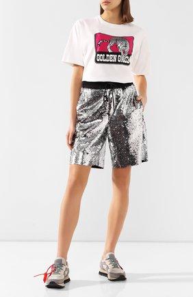 Женские шорты с пайетками GOLDEN GOOSE DELUXE BRAND серебряного цвета, арт. G36WP141.A1 | Фото 2
