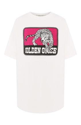 Женская хлопковая футболка GOLDEN GOOSE DELUXE BRAND белого цвета, арт. G36WP026.S1 | Фото 1
