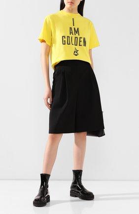 Женская хлопковая футболка GOLDEN GOOSE DELUXE BRAND желтого цвета, арт. G36WP024.06 | Фото 2