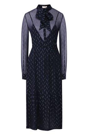 Женское шелковое платье SAINT LAURENT темно-синего цвета, арт. 618962/Y6A54 | Фото 1