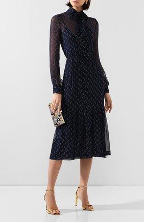 Женское шелковое платье SAINT LAURENT темно-синего цвета, арт. 618962/Y6A54 | Фото 2