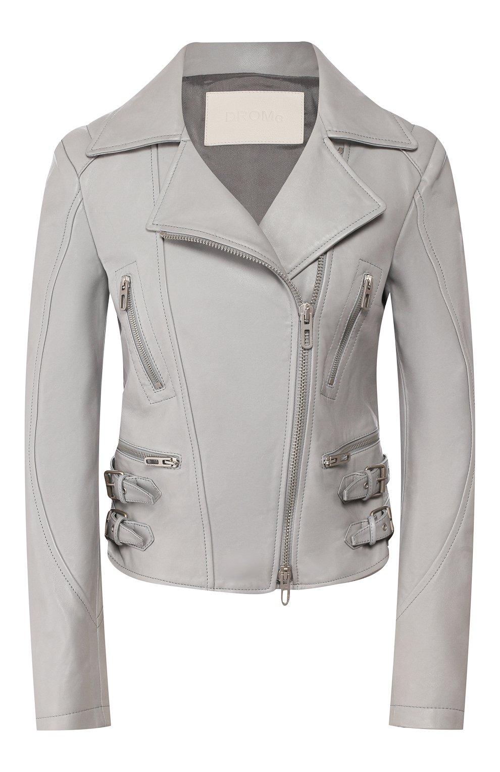 Женская кожаная куртка DROME серого цвета, арт. DPD3014/D1098   Фото 1 (Кросс-КТ: Куртка; Рукава: Длинные; Материал внешний: Кожа; Женское Кросс-КТ: Замша и кожа; Длина (верхняя одежда): Короткие; Материал подклада: Вискоза)