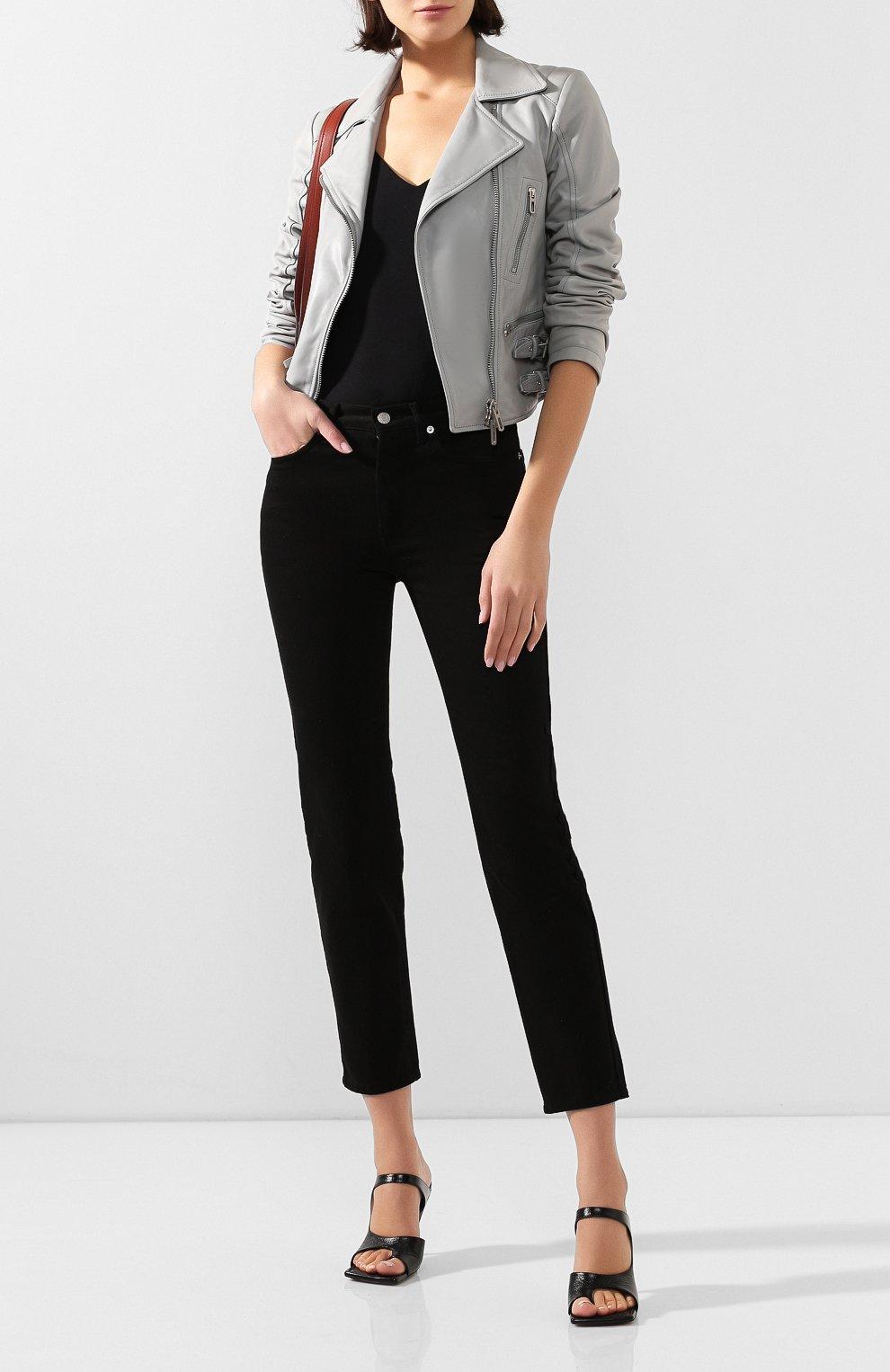 Женская кожаная куртка DROME серого цвета, арт. DPD3014/D1098   Фото 2 (Кросс-КТ: Куртка; Рукава: Длинные; Материал внешний: Кожа; Женское Кросс-КТ: Замша и кожа; Длина (верхняя одежда): Короткие; Материал подклада: Вискоза)