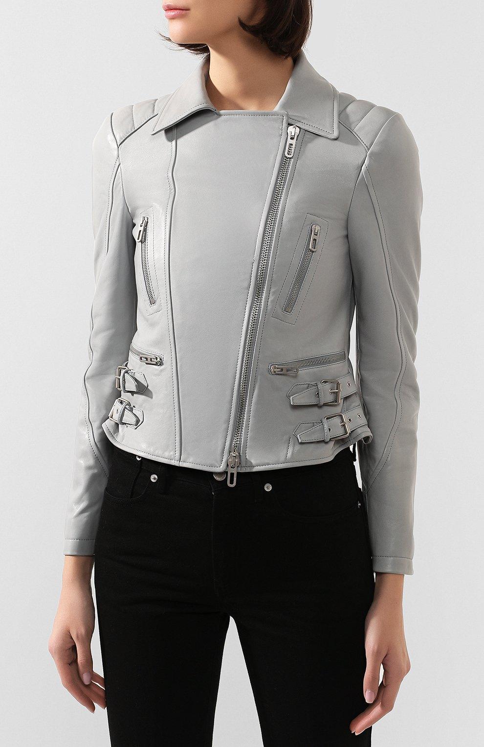 Женская кожаная куртка DROME серого цвета, арт. DPD3014/D1098   Фото 3 (Кросс-КТ: Куртка; Рукава: Длинные; Материал внешний: Кожа; Женское Кросс-КТ: Замша и кожа; Длина (верхняя одежда): Короткие; Материал подклада: Вискоза)