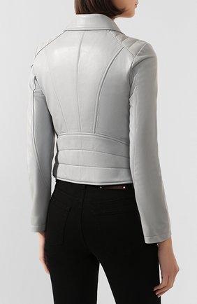 Женская кожаная куртка DROME серого цвета, арт. DPD3014/D1098   Фото 4 (Кросс-КТ: Куртка; Рукава: Длинные; Материал внешний: Кожа; Женское Кросс-КТ: Замша и кожа; Длина (верхняя одежда): Короткие; Материал подклада: Вискоза)