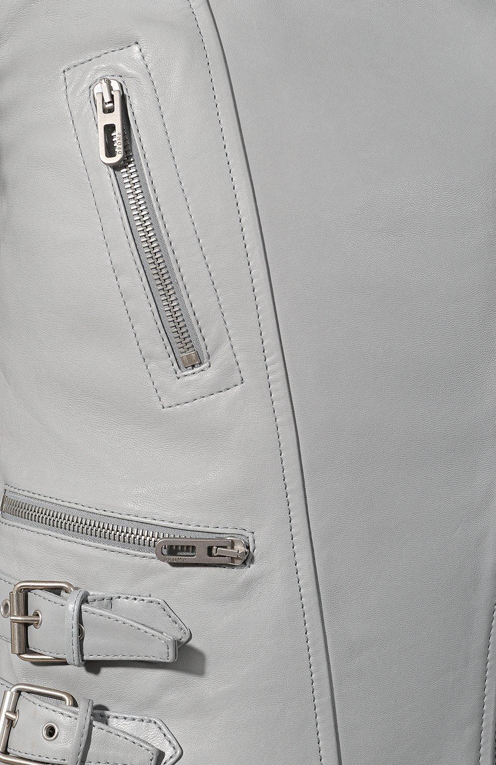 Женская кожаная куртка DROME серого цвета, арт. DPD3014/D1098   Фото 5 (Кросс-КТ: Куртка; Рукава: Длинные; Материал внешний: Кожа; Женское Кросс-КТ: Замша и кожа; Длина (верхняя одежда): Короткие; Материал подклада: Вискоза)