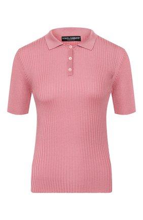 Женское шелковое поло DOLCE & GABBANA розового цвета, арт. FX804T/JASMH | Фото 1