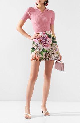 Женское шелковое поло DOLCE & GABBANA розового цвета, арт. FX804T/JASMH | Фото 2