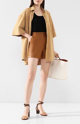 Женские кожаные шорты TWINS FLORENCE коричневого цвета, арт. TWFPE20PAN0003B | Фото 2