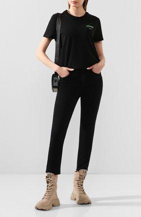 Женская хлопковая футболка OFF-WHITE черного цвета, арт. 0WAA049R20B071011041 | Фото 2