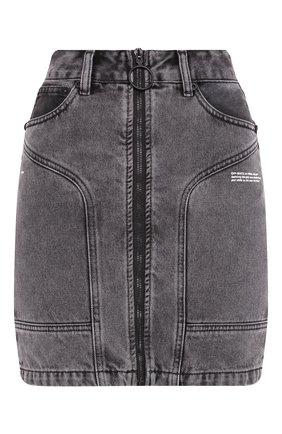 Женская джинсовая юбка OFF-WHITE темно-серого цвета, арт. 0WYF004R20E980687500   Фото 1