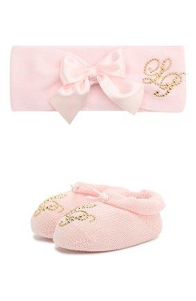 Детский комплект из пинеток и повязки LA PERLA розового цвета, арт. 48796 | Фото 1