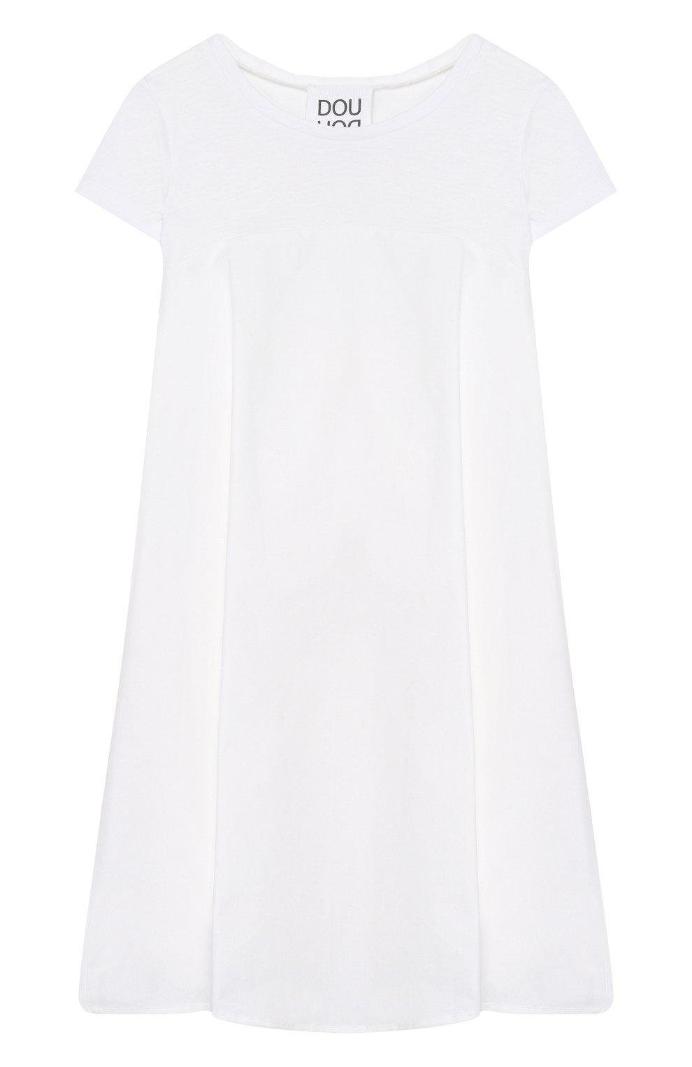 Детское хлопковое платье DOUUOD белого цвета, арт. 20E/U/JR/AB22/1140/10A-14A | Фото 1 (Рукава: Короткие; Материал внешний: Хлопок; Девочки Кросс-КТ: Платье-одежда)