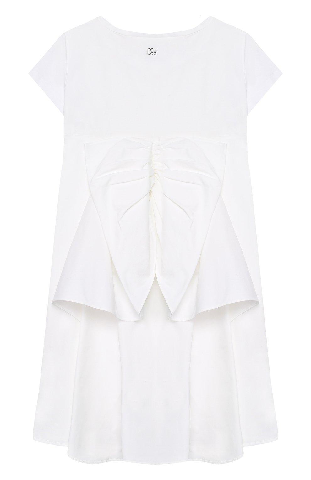 Детское хлопковое платье DOUUOD белого цвета, арт. 20E/U/JR/AB22/1140/10A-14A | Фото 2 (Рукава: Короткие; Материал внешний: Хлопок; Девочки Кросс-КТ: Платье-одежда)