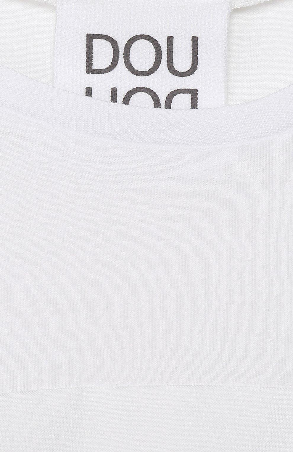 Детское хлопковое платье DOUUOD белого цвета, арт. 20E/U/JR/AB22/1140/10A-14A | Фото 3 (Рукава: Короткие; Материал внешний: Хлопок; Девочки Кросс-КТ: Платье-одежда)