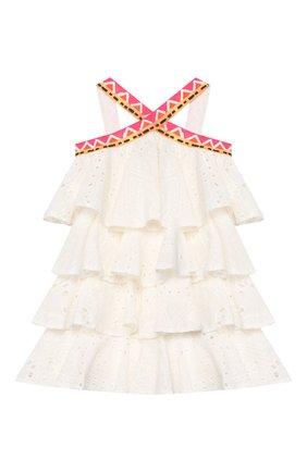 Детское хлопковое платье STELLA JEAN KIDS белого цвета, арт. 20E/J/JF/AB22/3210/4A-6A   Фото 1