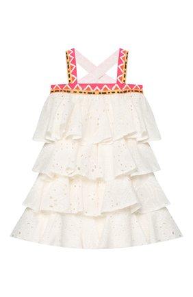 Детское хлопковое платье STELLA JEAN KIDS белого цвета, арт. 20E/J/JF/AB22/3210/4A-6A   Фото 2
